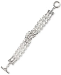 Jewel Badgley Mischka Crystal And Imitation Pearl Triple Row Toggle Bracelet Silver