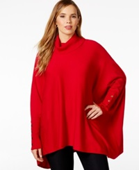 Alfani Plus Size Turtleneck Poncho Only At Macy's New Red Amore
