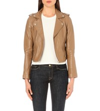 Maje Basalt Leather Biker Jacket Camel
