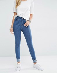 Noisy May Lexi High Rise Skinny Jeans Mid Wash Blue