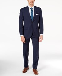 Michael Kors Men's Classic Fit Navy Mini Grid Suit Blue