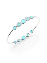Ippolita Stella Turquoise Mother Of Pearl Diamond And Sterling Silver Double Tiara Bangle Bracelet
