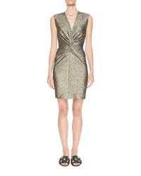 Lanvin Sleeveless Metallic Twist Front Dress Black Pattern