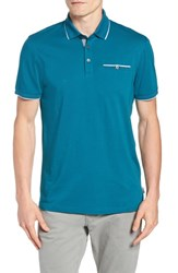 Ted Baker London Loomie Slim Fit Tipped Long Sleeve Polo Turquoise