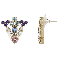 Cabinet 9Ct Gold Plated Grand Paradisia Crystal Earrings Pink Purple