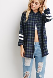 Forever 21 Varsity Striped Plaid Flannel Shirt Green Navy