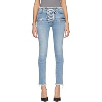 Unravel Blue Lace Up Skinny Jeans