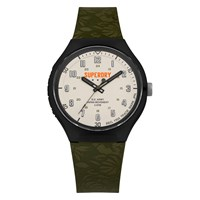 Superdry Men's Urban Extra Large Silicone Strap Watch Green White