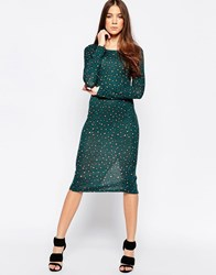 Madam Rage Leopard Print Bodycon Midi Dress Green