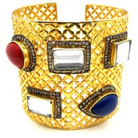 Meghna Jewels Wide Envy Cuff Bracelet Gold