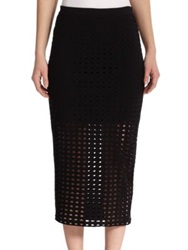 Alexander Wang Perforated Overlay Pencil Skirt White Black