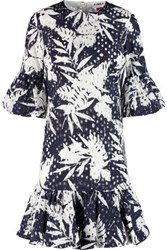 Ainea Printed Broderie Anglaise Cotton Dress Navy