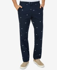 Nautica Classic Fit Stretch Graphic Print Deck Pants True Navy