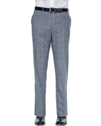 Incotex Benson Lightweight Wool Plaid Trousers Gray Blue