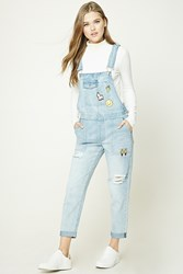 Forever 21 Pinata Patch Overalls Light Denim