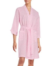 Miss Elaine Paisley Print Cotton Robe Pink
