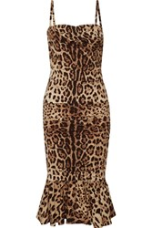 Dolce And Gabbana Ruched Leopard Print Silk Cady Midi Dress Leopard Print