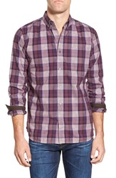 French Connection 'Scattered' Trim Fit Long Sleeve Plaid Sport Shirt Grape