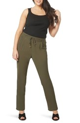 Evans Plus Size Women's Tapered Stretch Crepe Trousers Khaki