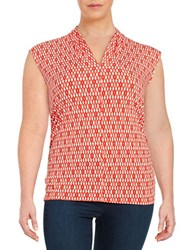 Vince Camuto Plus Ruched Patterned Blouse Red