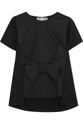 Comme Des Garcons Bow Embellished Satin And Cotton Jersey T Shirt Black