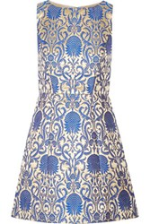 Alice Olivia Carrie Metallic Brocade Mini Dress Bright Blue
