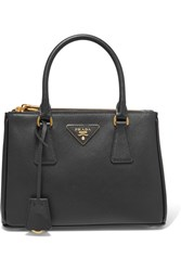 Prada Galleria Mini Textured Leather Tote Black