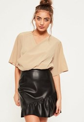 Missguided Nude Flare Sleeve Wrap Front Cropped Blouse Plum