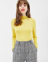 Soaked In Luxury Roll Neck Top Misted Yellow