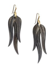 Annette Ferdinandsen Oxidized Sterling Silver And 14K Gold Feather Drop Earrings Yellow Gold