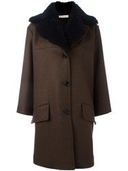 Marni Shearling Collar Coat Brown