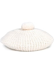 Gucci Pompom Knitted Beret Hat White