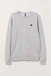 Handm H M Sweatshirt With Embroidery Gray