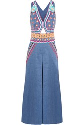 Temperley London Spellbound Embroidered Linen Blend Chambray Jumpsuit Blue