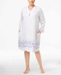 Charter Club Plus Size Border Print Zip Front Short Robe Only At Macy's Daisy Border