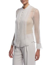 Emporio Armani Button Front Sheer Silk Blouse With Front Panel Gray