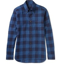 Thom Sweeney Slim Fit Button Down Collar Checked Linen Shirt Blue