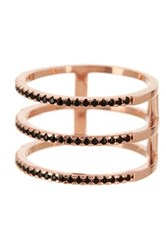 Nordstrom Rack Rose Gold Pave Cz Triple Row Ring Size 7 Metallic