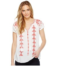 Dylan By True Grit Free Spirit Peasant Blouse W Tribal Embroidery White Women's Short Sleeve Pullover