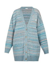 Loewe Logo Embroidered Cardigan Blue Multi