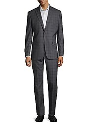 Kenneth Cole Plaid Wool Suit Grey