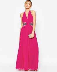Little Mistress Halter Maxi Dress With Embellished Waist Detail Magenta Pink