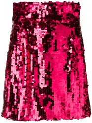 Dolce And Gabbana Sequinned Mini Skirt Pink And Purple