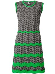 M Missoni Geometric Pattern Knitted Dress Grey
