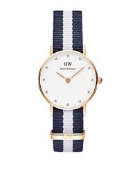 Daniel Wellington Classy Glasgow Rose Goldtone Blue Nylon Strap Watch 26Mm