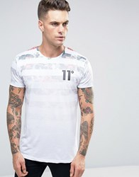 11 Degrees T Shirt With Floral Print Stripes White