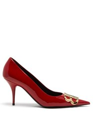 Balenciaga Bb D'orsay Patent Leather Pumps Red