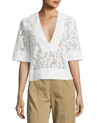 A.L.C. Virginia Cropped Abstract Lace Top Eggshell