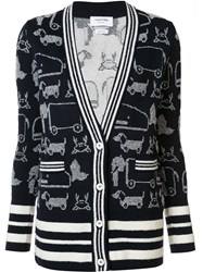 Thom Browne Animal Print Cardi Coat Blue