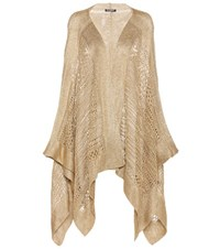 Balmain Open Front Knitted Cardigan Gold